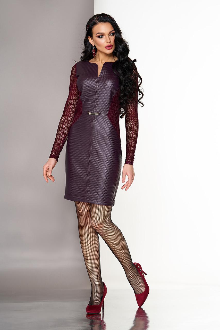 Нарядное кожаное платье с гипюровыми рукавами бордо