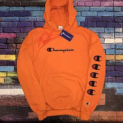 Толстовка оранжевая Champion | худи чемпион | кенгурушка