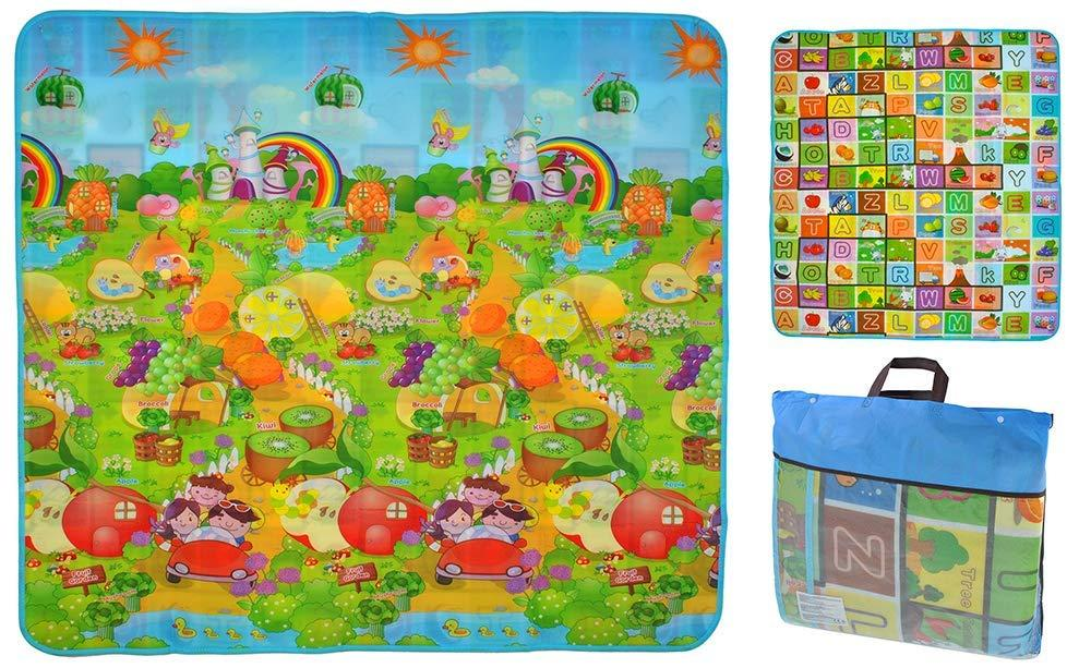 Детский развивающий коврик игровой двусторонний 180х200х0,5 см для детей