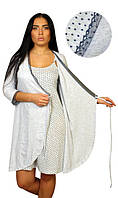 """Красивый комплект """"Анжелика""""  халат с кружевом + ночнушка для кормящих мам"""
