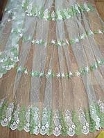 Тюль фатин с зеленой вышивкой Весенняя радость, фото 1