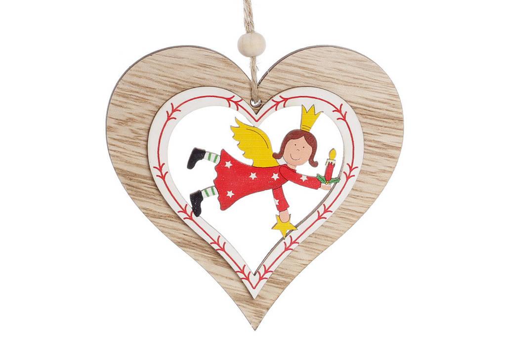 Новогоднее украшение-подвеска 10см Сердце с ангелом BonaDi 785-201