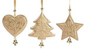 Новогоднее украшение-подвеска 20см, цвет - золото, 3 вида BonaDi 785-517