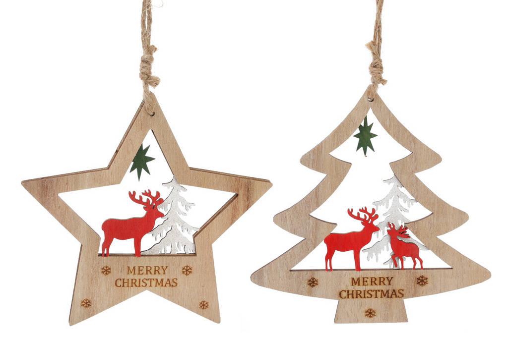 Новогоднее украшение-подвеска Елка с оленем 15см, цвет - натуральное дерево, 2 вида BonaDi 785-228