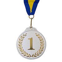 Медаль спортивна зі стрічкою 6,5 см (метал, d-6,5 см, 35g, 1-золото, 2-срібло, 3-бронза) 10шт, фото 1