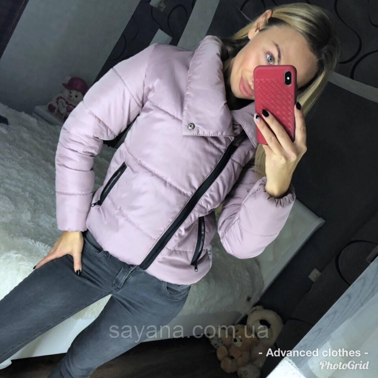 Женская зимняя куртка с высоким воротником на кнопке в расцветках. ДС-43-1118