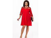 Женское вечернее платье трапеция 25609 / размер 48,50 цвет красный