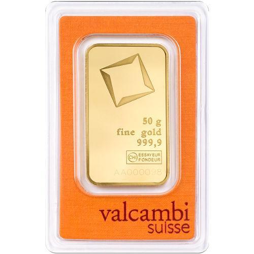 Слиток золота 50 грамм Valcambi (Credit Suisse)