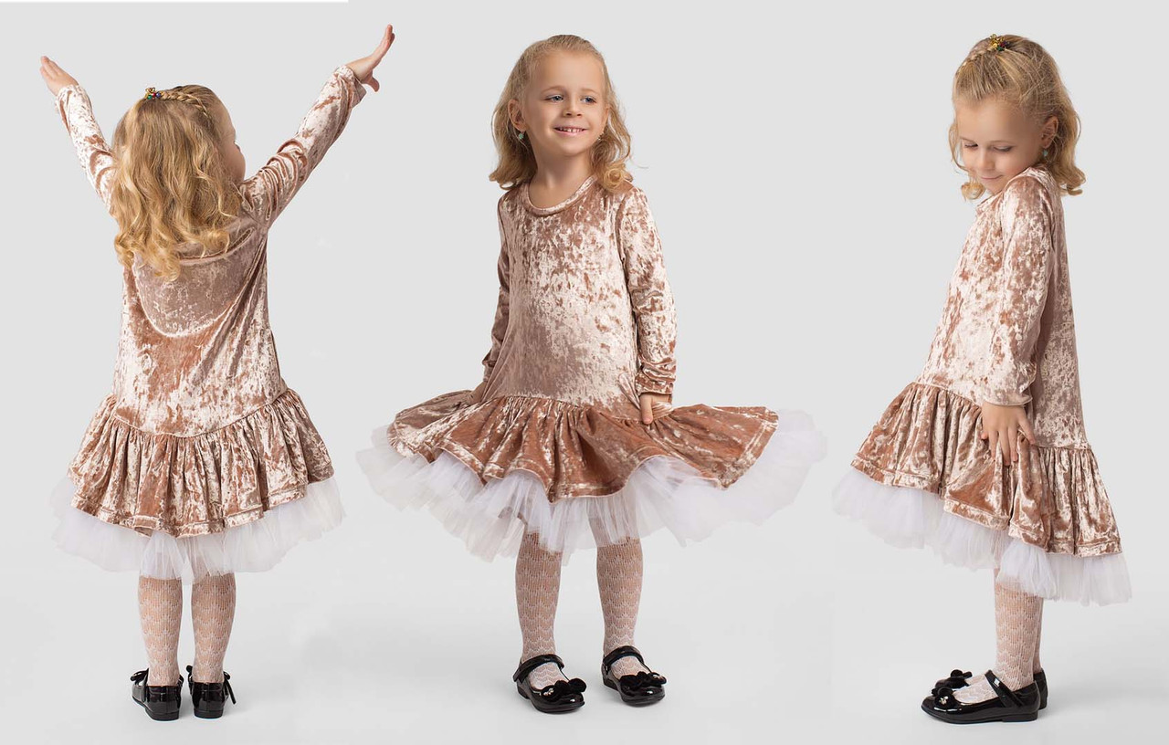 """Детское нарядное платье 2-151 """"Бархат Волан Шлейф Сетка"""""""