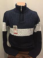 Теплый мужской свитер с высоким воротником на молнии XL