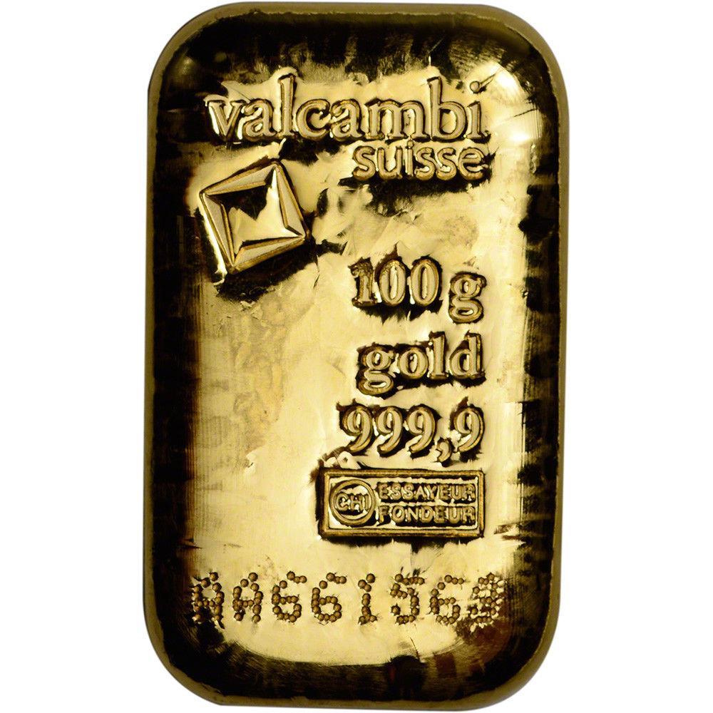 Слиток золота 100 грамм Летой Valcambi (Credit Suisse)