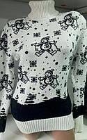 Свитер под горло со снеговиками/ снежинками женский (шерсть/ акрил), фото 1