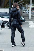 Костюм зимний на плащевке женский теплый с капюшоном 42,44,46, фото 3