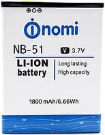 Акумуляторна батарея NB-51 для мобільного телефону Nomi i500 Sprint Li-ion, 3,7 В, 1800 мАг, Original