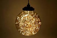 Декоративный шар 23 см с LED-гирляндой внутри (300 мини-LED, цвет - тёплый белый, постоянное свечение)