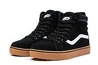 Женские зимние кроссовки на меху в стиле Vans Old School Winter, черные. Код товара: KW - 30724