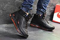Мужские зимние кроссовки на меху в стиле Nike 97, черные. Код товара Д - 6845