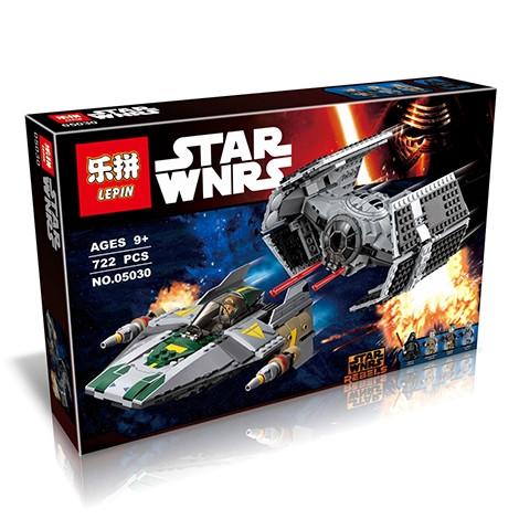"""Конструктор Lepin 05030 """"Усовершенствованный истребитель TIE и A-Wing"""" (аналог Lego Star Wars 75150), 722 дет"""