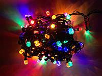 Гирлянда Рубин на черном кабеле 200 лампочек