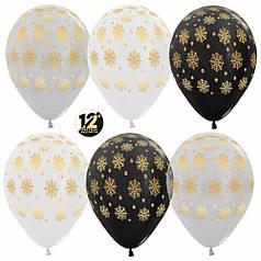 """Шар 12"""" (30 см) Снежинки Новый год Ассорти белый, черный, прозрачный 5 ст Sempertex (Семпертекс) Колумбия"""