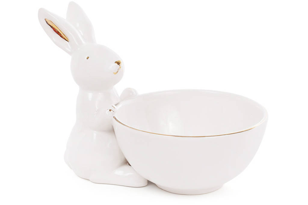 Пиала керамическая 500мл с фигуркой Кролика с золотыми ушками, цвет - белый BonaDi 945-238