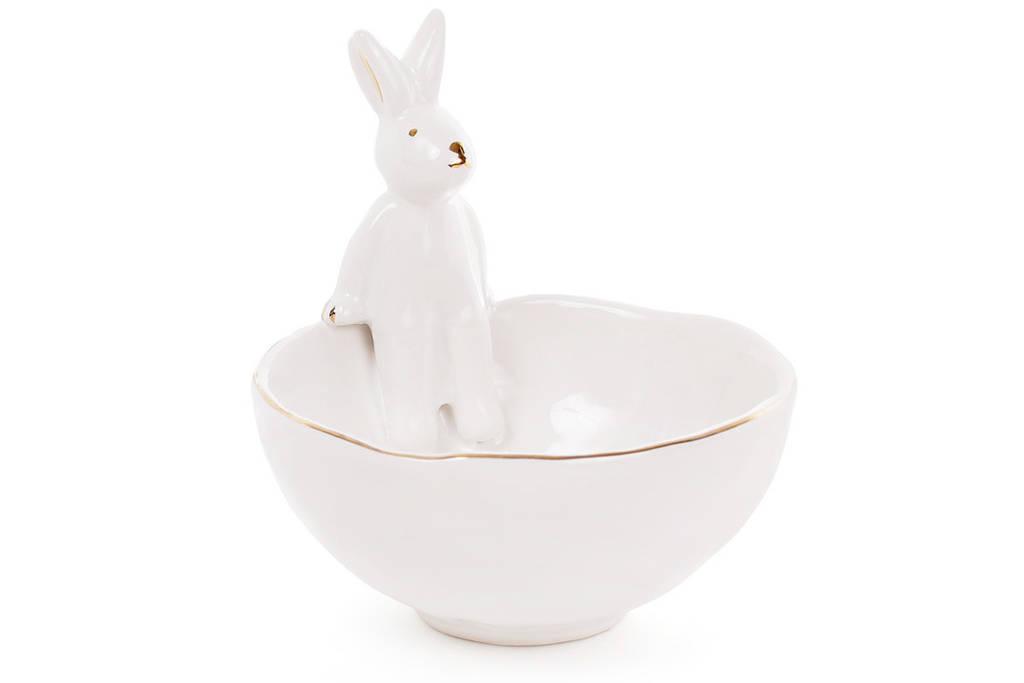 Пиала керамическая 250мл с фигуркой Кролика с золотыми ушками, цвет - белый BonaDi 945-240