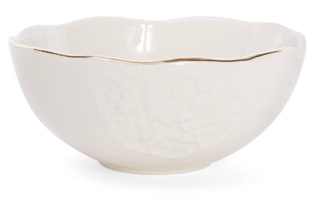 Пиала фарфоровая 550мл с объемным рисунком, цвет - кремовый с золотом BonaDi 945-200