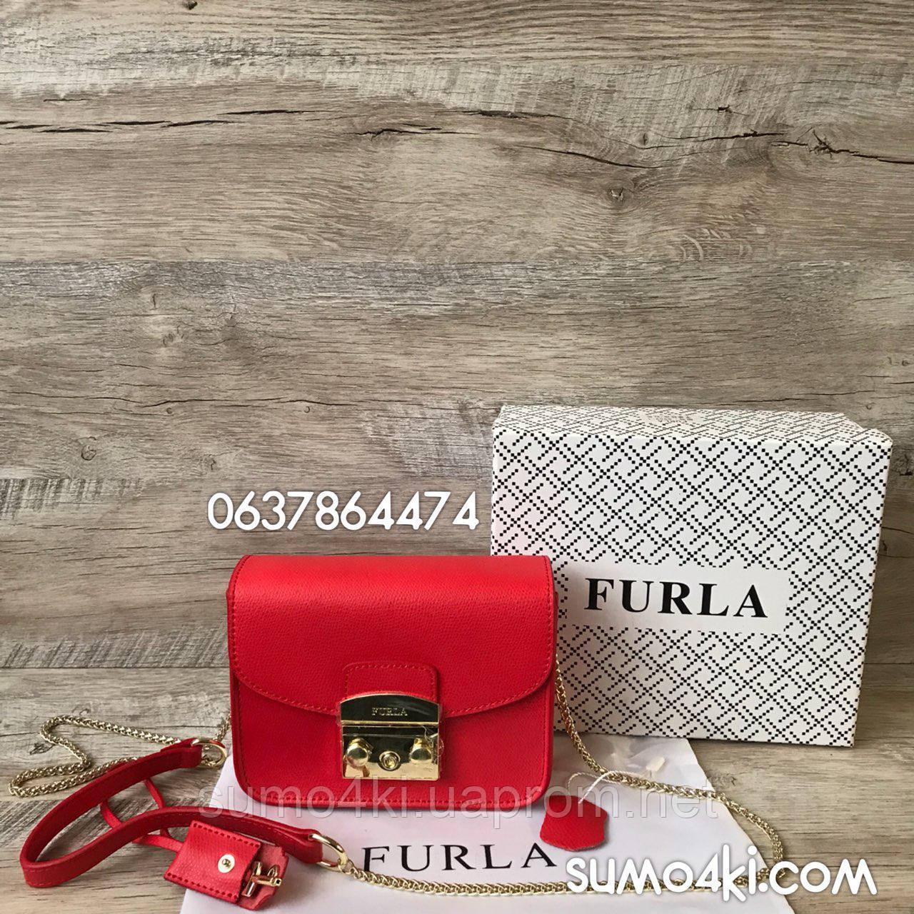 Женская кожная сумка Furla metropolis Фурла красная черная -  Интернет-магазин «Галерея Сумок» 36cc78812ad