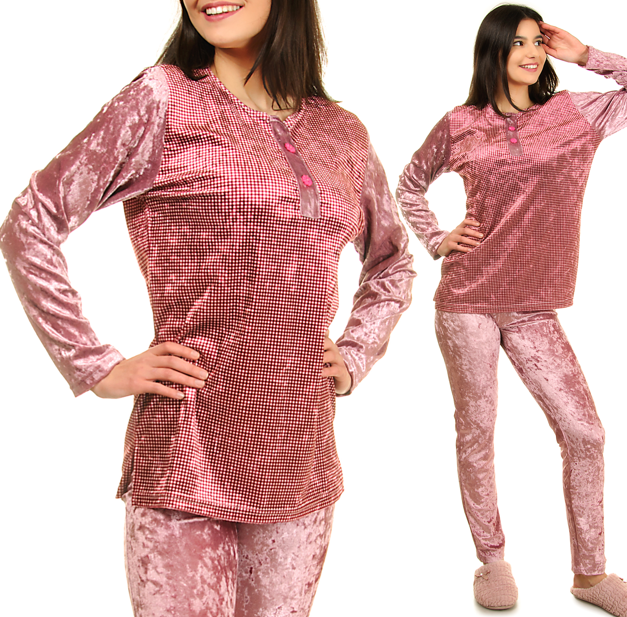 Велюровая пижама женская теплая кофта с брюками, комплект