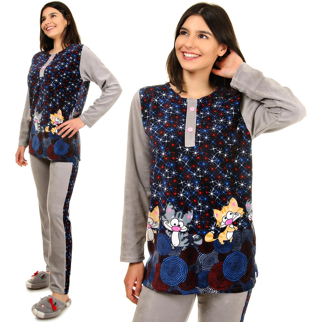 Женская пижама из велюра теплая кофта с брюками, комплект