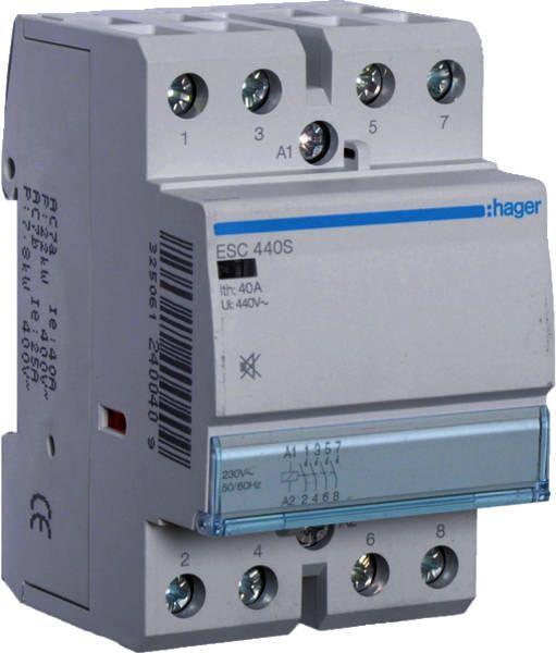 ESC440S Контактор безшумний 40A, 4Н.О, 230В Hager