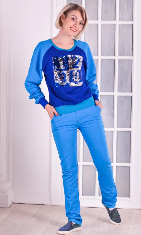 Женский спортивный костюм голубой пайетки размер 40-46