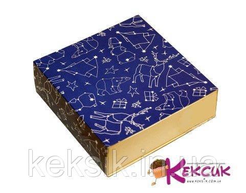Коробка-пенал новогодняя синяя 16*16*5,5 см