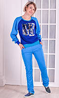 Женский спортивный костюм голубой пайетки размер 40-46 L