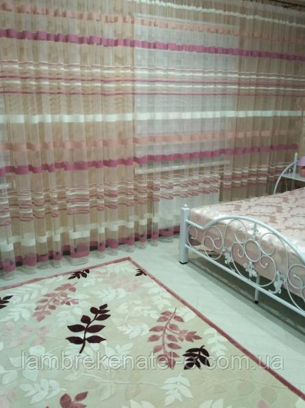 Тюль полоска цвет фрез для детской сальни