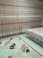 Тюль полоска цвет розовая пудра для детской спальни недорого