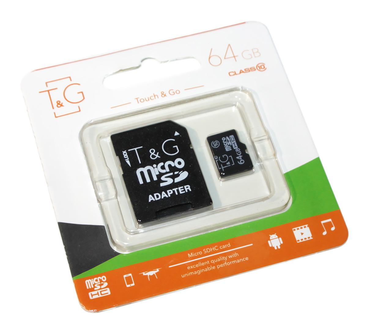 Карта памяти microSDHC, 64Gb, Class10 UHS-I, T&G, SD адаптер (TG-64GBSDCL10-01)