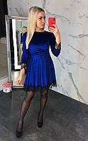 Новинка 2018-2019!Нарядное, женское, бархатное мини-платье с юбкой-клёш и кружевом РАЗНЫЕ ЦВЕТА, фото 1
