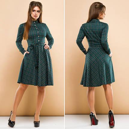 """Короткое трикотажное платье-рубашка в клетку """"Tiora"""" с карманами и длинным рукавом (2 цвета), фото 2"""