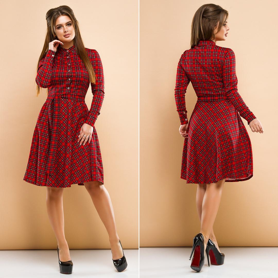 """Короткое трикотажное платье-рубашка в клетку """"Tiora"""" с карманами и длинным рукавом (2 цвета)"""