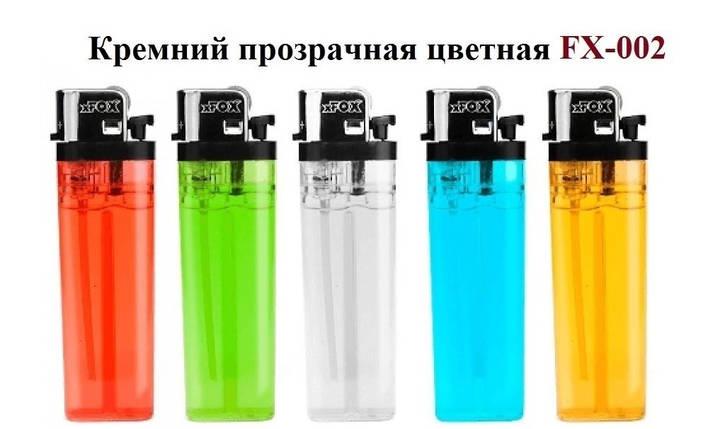 """Зажигалка """"xFOX"""" Кремний прозрачная цветная (50 шт) FX-002, фото 2"""