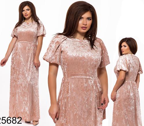 e959726ad717fd8 Вечернее длинное платье из бархата пудра 825682, цена 640 грн ...