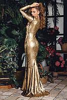 """Шикарное """"золотое"""" платье-макси S M L"""