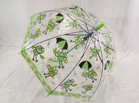Зонтик детский полупрозрачный, трость полуавтомат Забавный лягушенок