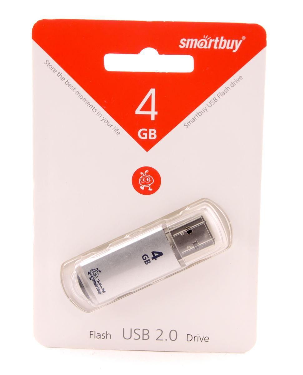 Флешка 4Gb Smartbuy V-Cut Silver / SB4GBVC-S, флеш накопитель