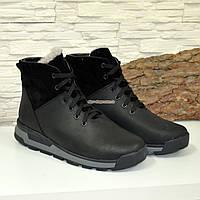 Мужские кожаные ботинки на шнуровке, черная кожа-крейзи