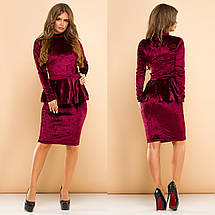 """Облегающее бархатное миди-платье """"Rihanna"""" со съемной баской (4 цвета), фото 2"""
