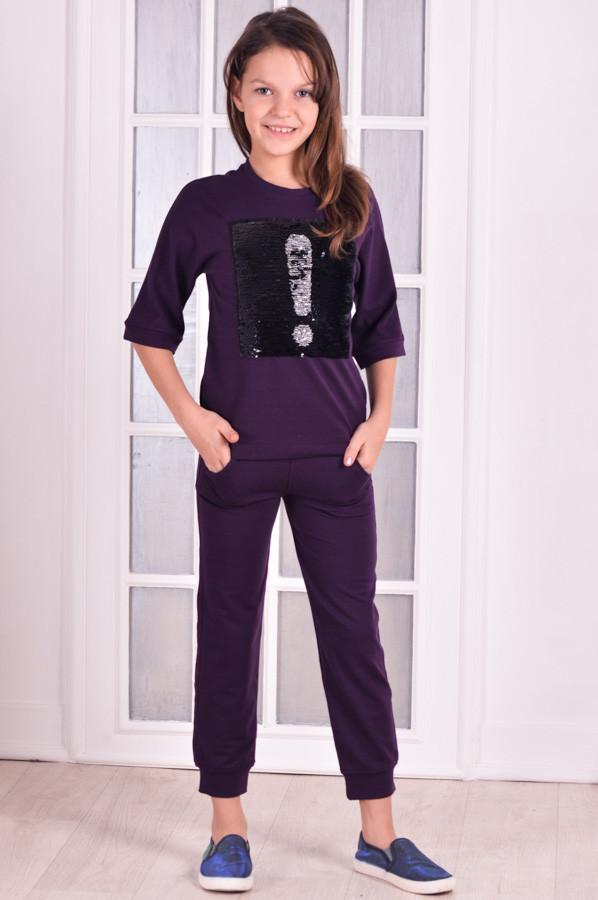 Спортивный костюм для девочки  прогулочный с нашивкой   от 6 до 10 лет (116;122;128;134;140)