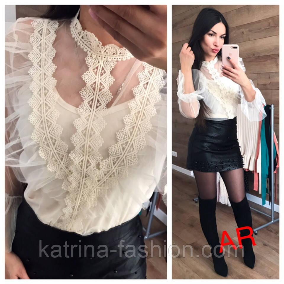 Женская блуза сетка и декор (7 цветов)