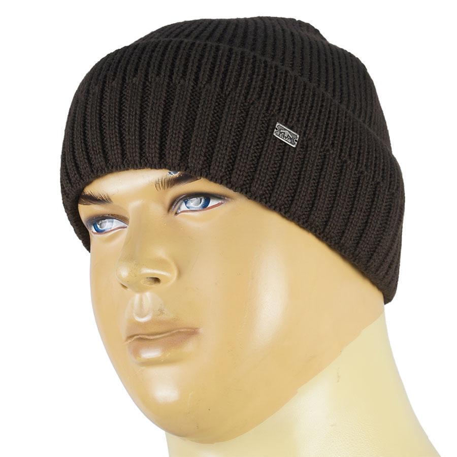 В язана зимова чоловіча шапка Ellan М  EDEM brown коричневого кольору 4bc16c9df384e